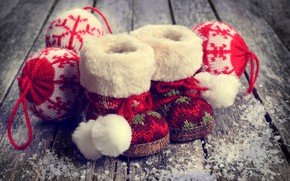 Picture snow, decoration, balls, toys, wool, New Year, Christmas, boots, happy, Christmas, vintage, wood, snow, New …