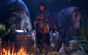 Wallpaper rendering, barrel, skyrim, night, girl, sword, horse, fire