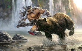 Picture forest, river, bear, fantasy, art, hunting, Orc, Sergey Avtushenko, Rexxar and Misha the heroes of …