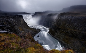 Picture waterfall, canyon, Iceland, Iceland, Dettifoss