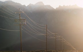 Picture road, light, fog, morning, power lines