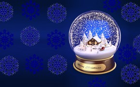 Picture snowflakes, holiday, gift, new year, minimalism, art, snow globe