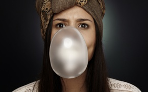 Picture eyes, look, girl, face, background, hair, chewing gum