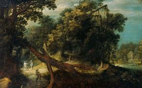 Picture nature, tree, oil, picture, Mountain Landscape, Adriaen van Stalbemt