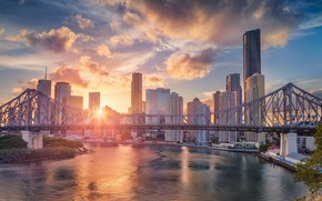 Wallpaper QLD, sunset, Australia, skyscrapers, Brisbane River, Story Bridge, Story Bridge, home, The Brisbane River, bridge, ...