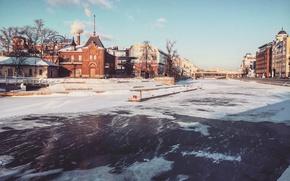 Picture city, river, winter, snow, moscow, architecture, cityscape, aristovart