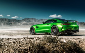 Picture the sky, nature, green, style, rear view, the front, Mercedes GTR