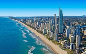 Picture sea, wave, beach, skyscrapers, Australia