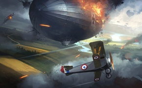 Picture the plane, war, the airship, art, DICE, battlefield 1