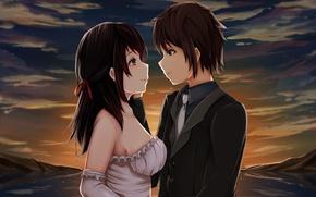 Picture sunset, romance, anime, art, two, Art, wedding, Kimi no VA On, Your name