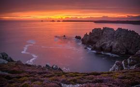 Picture sea, sunset, rocks, coast, France, France, Brittany, Brittany, Lyon Isle de Crozon, Pointe de Dinan, …