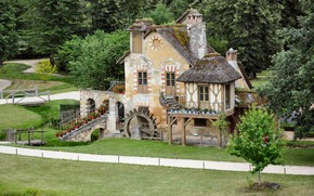 Picture road, house, mill, architecture, Hamlet of the Queen, Park of Versailles