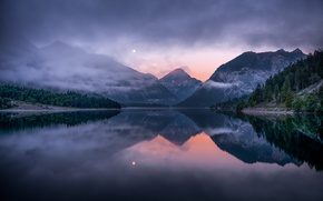 Picture landscape, mountains, forest, pond