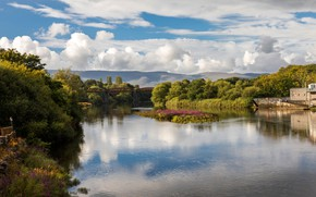 Picture greens, summer, the sun, clouds, trees, bridge, river, Ireland, Kerry, Killorglin