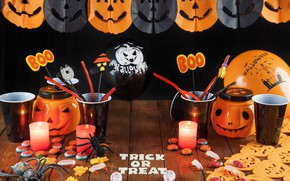 Picture holiday, spiders, candles, pumpkin, glasses, garland, Halloween, marmalade