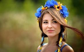 Wallpaper tape, wreath, Ukrainian, brown-eyed, Dana, Dana Gerhardt