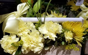 Picture flowers, bouquet, bow, chrysanthemum, yellow, clove