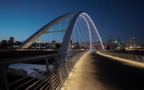 Picture bridge, lights, backlight, Canada, Edmonton, Edmonton
