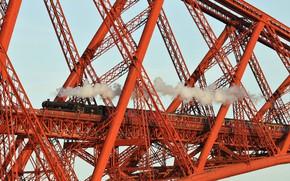 Picture bridge, train, cars, Scotland, Forth Bridge