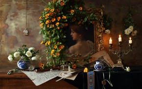 Picture pen, candles, Gzhel, Still life with a violin and a painting