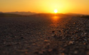 Picture road, the sun, sunset