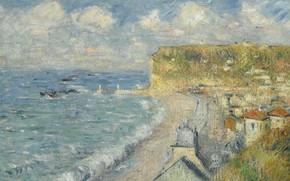 Picture sea, landscape, the city, picture, Gustave Loiseau, Gustave Loiseau, The beach in Pecane