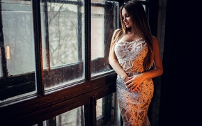 Picture girl, figure, dress, hairstyle, outfit, brown hair, is, window, Ivan Gorokhov