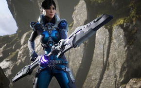 Picture game, weapon, woman, brunette, Paragon
