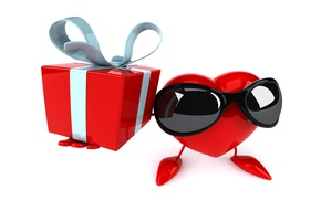 Picture gift, heart, heart, gift, funny, rendering