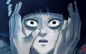 Picture look, surprise, hands, student, Mob Psycho 100, Mob psycho 100