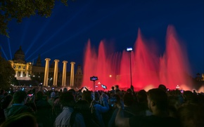 Picture Spain, fountain, night, Barcelona, lights