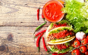 Picture food, meat, vegetables, tomatoes, garlic, chili, pellet, tomato, mexican, tortilla, tacos, tortillla
