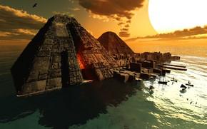 Picture sea, the sun, boats, pyramid, The Port of ATLANTIS