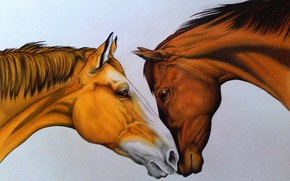 Wallpaper red and brown, horses, painting, figure, pair, tenderness