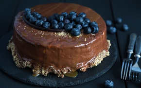 Picture chocolate, blueberries, cake, decoration, cream, sweet