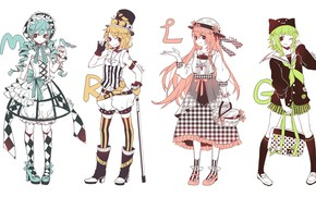 Picture boots, costume, shoes, cane, white background, bag, vocaloid, basket, Hatsune Miku, green hair, Kagamine Rin, …