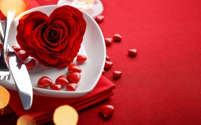 Picture red, love, rose, background, romantic, hearts, bokeh, valentine's day