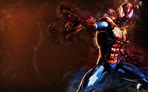 Picture fantasy, Marvel, comics, digital art, artwork, mask, superhero, costume, fantasy art, Spider Man, spiderweb