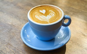 Picture coffee, Breakfast, Cup, saucer, foam