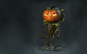 Wallpaper art, cane, pumpkin, Halloween, Mr., The True Pumpkin, Rafael Mesquita