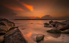 Picture sea, stones, island, glow, Sri Lanka