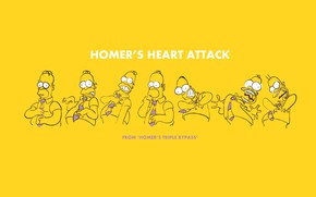 Picture yellow background, heart attack, Homer simpson