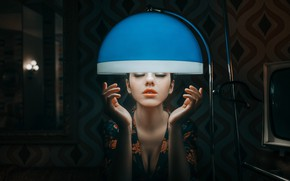 Picture face, model, lamp, lipstick, lips, twilight