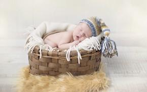 Picture basket, sleep, boy, cap, baby