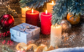 Picture winter, gift, balls, new year, candles, Christmas, decor