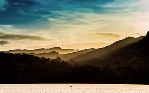 Picture the sky, mountains, nature, lake