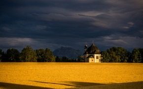 Picture field, clouds, trees, mountain, Austria, chapel, Austria, Lower Austria, Lower Austria, Traunstein, Traunstein