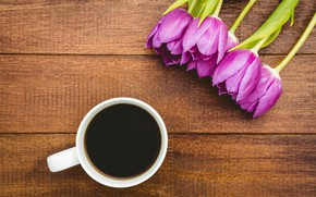 Picture flowers, coffee, bouquet, Cup, tulips, wood, flowers, cup, tulips, purple, coffee