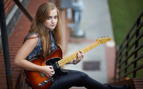 Wallpaper bokeh, look, girl, guitar, hair