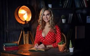 Wallpaper spotlight, chest, girl, curls, Dmitry Arhar, smile, books, look